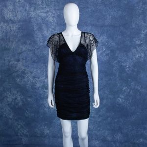 Bebe Ruched Black Lace w/ Blue Slip BodyCon Dress